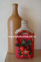 Декоративная новогодняя бутылка