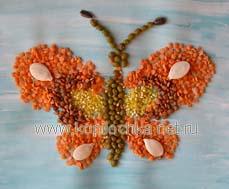 картина из крупы Бабочка