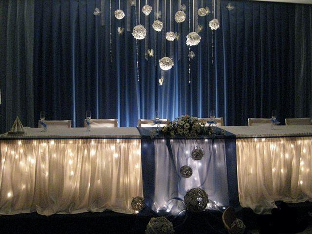 свадебный декор в сине-белых тонах