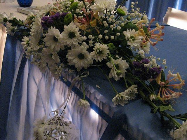 живые цветы на столе молодоженов