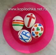пасхальные яйца с самодельными наклейками