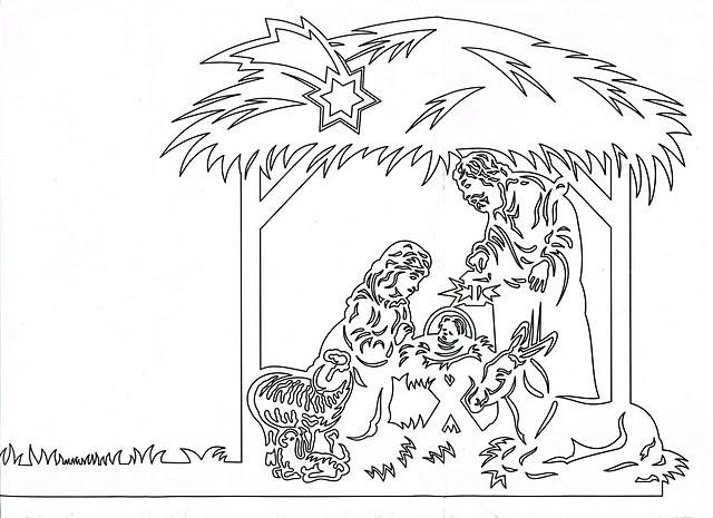 Вытынанка Мария и Иосиф с Младенцем